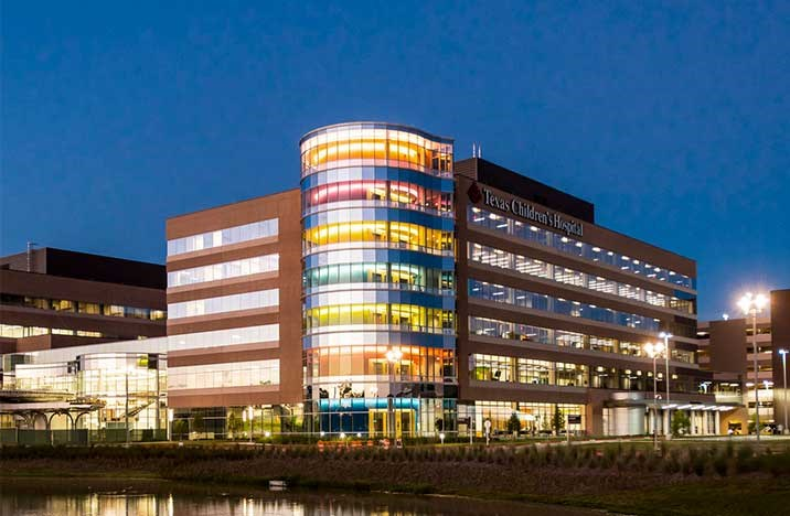 texas childrens hospital in the woodlands texas night view